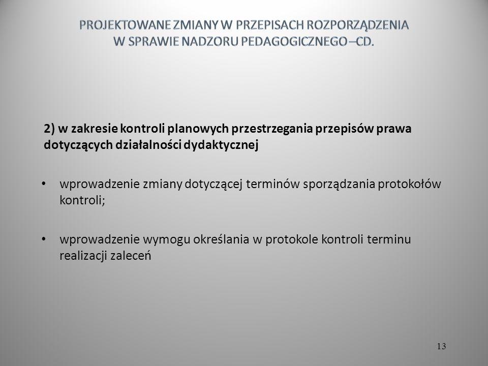 2) w zakresie kontroli planowych przestrzegania przepisów prawa dotyczących działalności dydaktycznej wprowadzenie zmiany dotyczącej terminów sporządzania protokołów kontroli; wprowadzenie wymogu określania w protokole kontroli terminu realizacji zaleceń 13