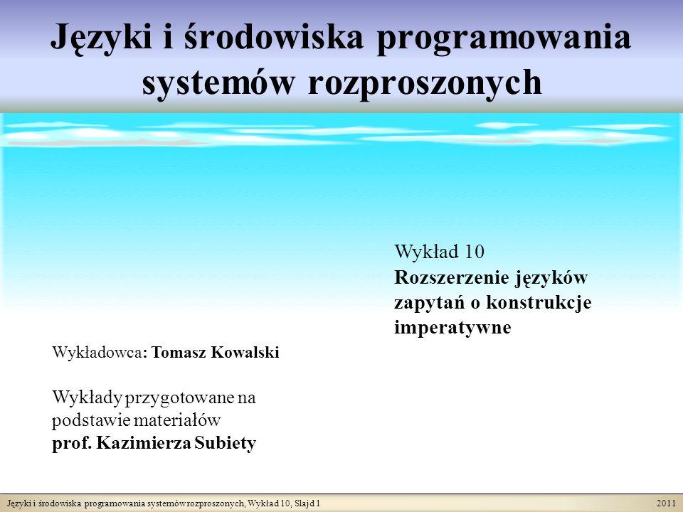 Języki i środowiska programowania systemów rozproszonych, Wykład 10, Slajd 1 2011 Języki i środowiska programowania systemów rozproszonych Wykładowca: