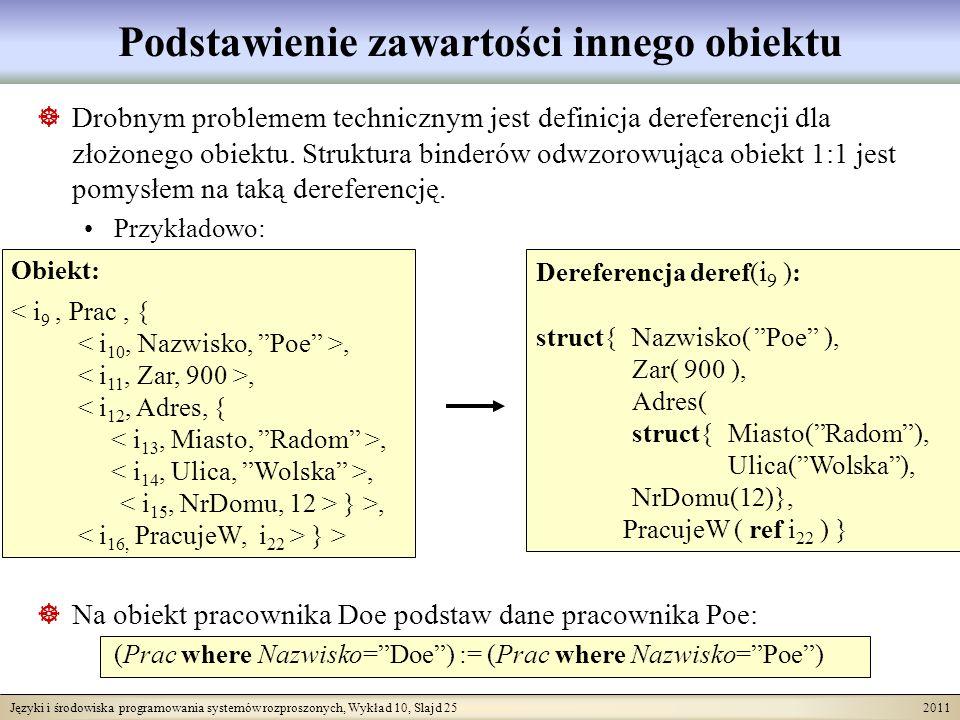 Języki i środowiska programowania systemów rozproszonych, Wykład 10, Slajd 25 2011 Podstawienie zawartości innego obiektu Drobnym problemem technicznym jest definicja dereferencji dla złożonego obiektu.
