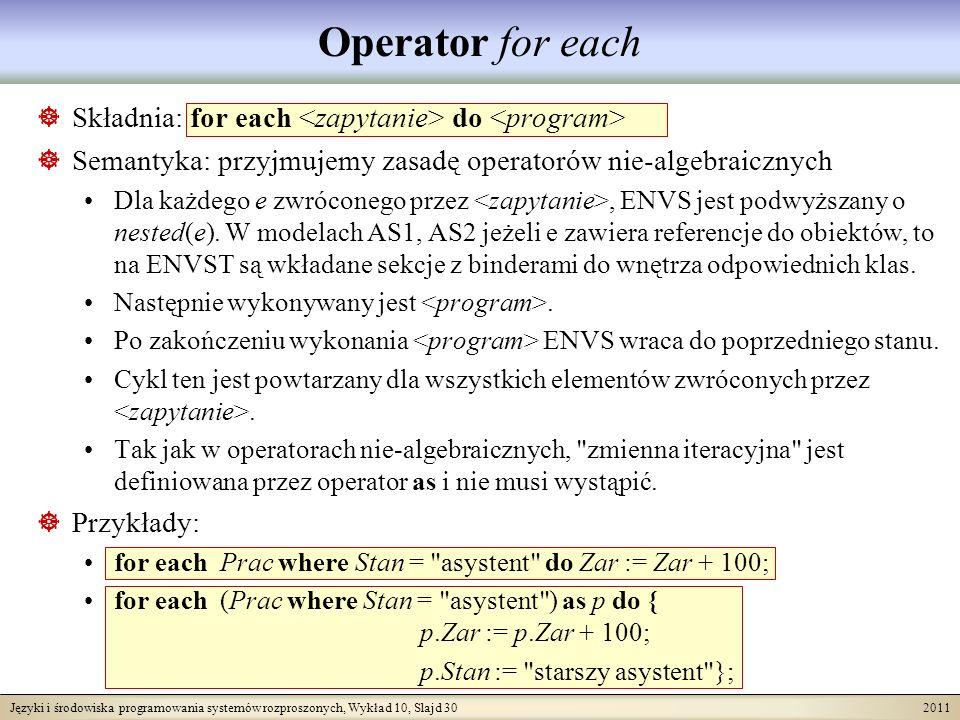 Języki i środowiska programowania systemów rozproszonych, Wykład 10, Slajd 30 2011 Operator for each Składnia: for each do Semantyka: przyjmujemy zasadę operatorów nie-algebraicznych Dla każdego e zwróconego przez, ENVS jest podwyższany o nested(e).