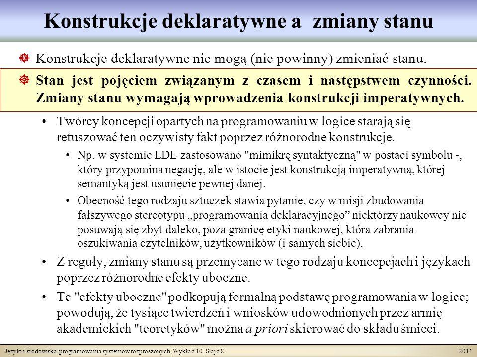 Języki i środowiska programowania systemów rozproszonych, Wykład 10, Slajd 8 2011 Konstrukcje deklaratywne a zmiany stanu Konstrukcje deklaratywne nie mogą (nie powinny) zmieniać stanu.