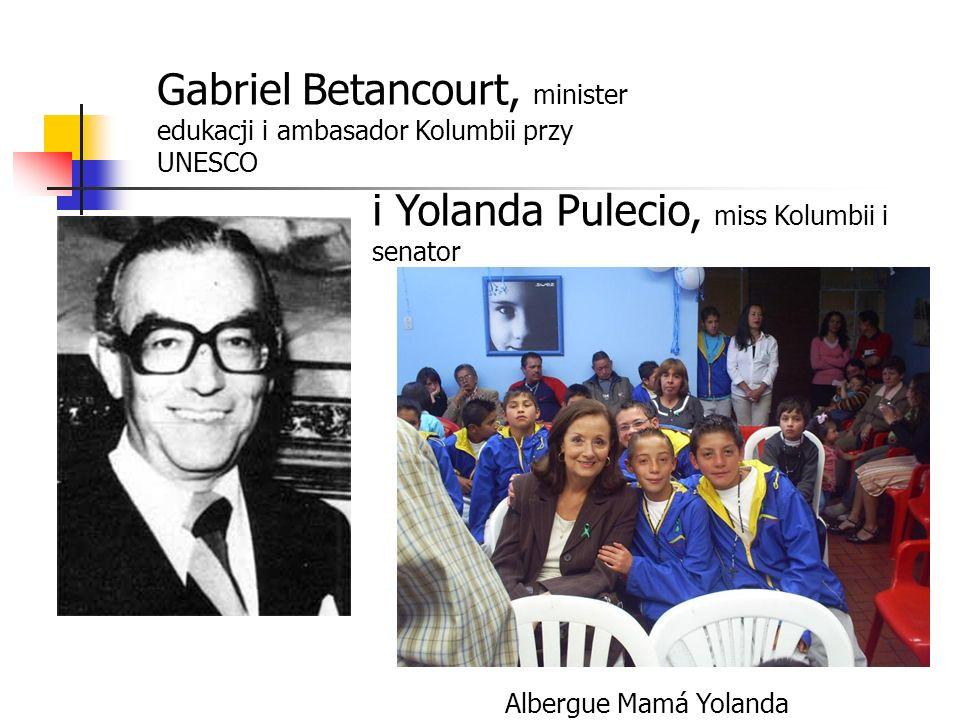 Gabriel Betancourt, minister edukacji i ambasador Kolumbii przy UNESCO i Yolanda Pulecio, miss Kolumbii i senator Albergue Mamá Yolanda