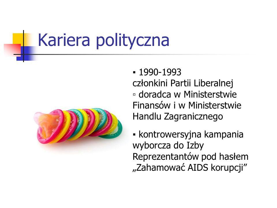 Kariera polityczna 1990-1993 członkini Partii Liberalnej doradca w Ministerstwie Finansów i w Ministerstwie Handlu Zagranicznego kontrowersyjna kampan
