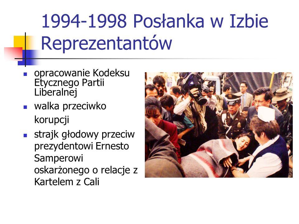 1994-1998 Posłanka w Izbie Reprezentantów opracowanie Kodeksu Etycznego Partii Liberalnej walka przeciwko korupcji strajk głodowy przeciw prezydentowi