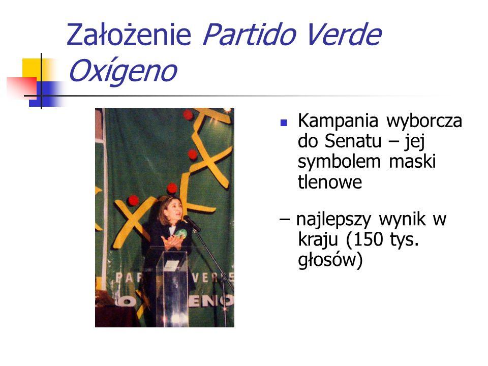 Założenie Partido Verde Oxígeno Kampania wyborcza do Senatu – jej symbolem maski tlenowe – najlepszy wynik w kraju (150 tys. głosów)