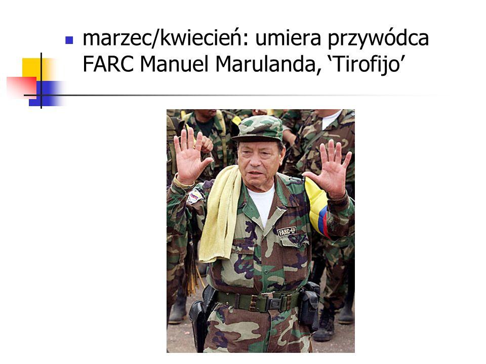 marzec/kwiecień: umiera przywódca FARC Manuel Marulanda, Tirofijo