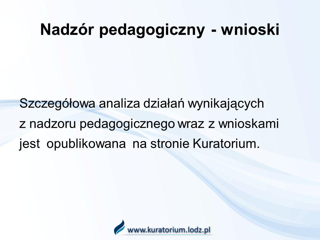 Nadzór pedagogiczny - wnioski Szczegółowa analiza działań wynikających z nadzoru pedagogicznego wraz z wnioskami jest opublikowana na stronie Kuratori
