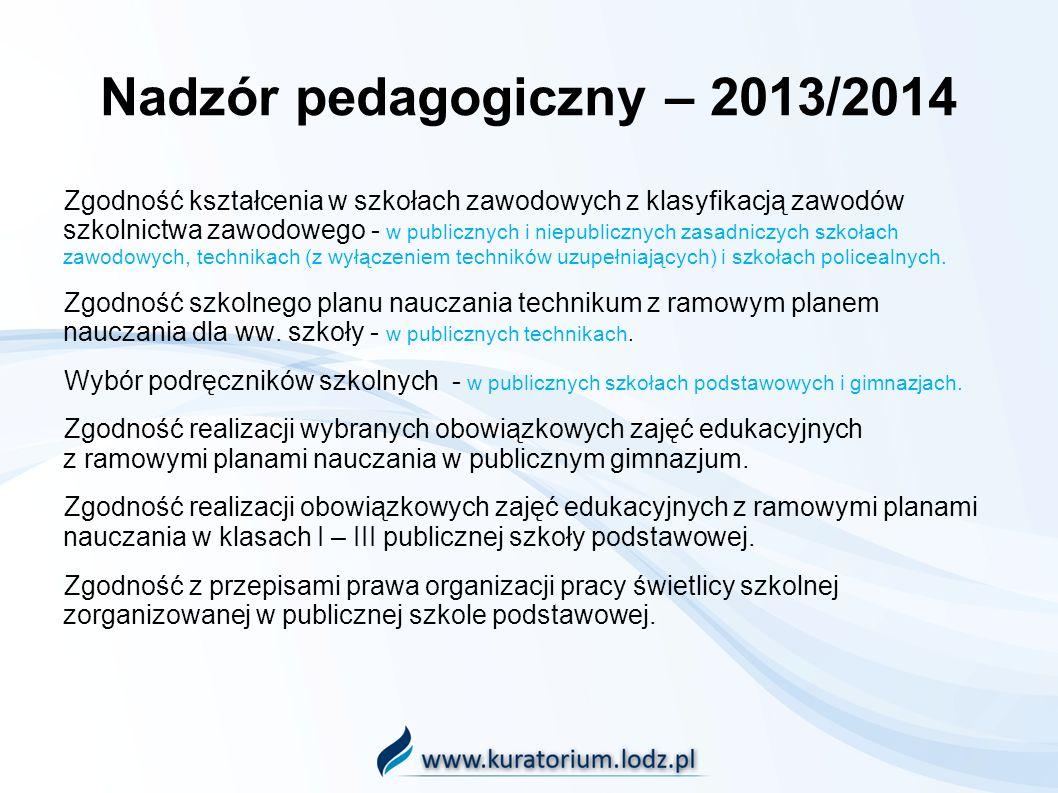 Nadzór pedagogiczny – 2013/2014 Zgodność kształcenia w szkołach zawodowych z klasyfikacją zawodów szkolnictwa zawodowego - w publicznych i niepubliczn