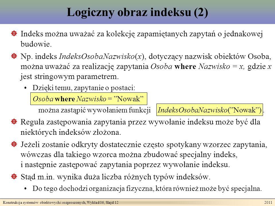 Konstrukcja systemów obiektowych i rozproszonych, Wykład 06, Slajd 12 2011 Logiczny obraz indeksu (2) Indeks można uważać za kolekcję zapamiętanych zapytań o jednakowej budowie.