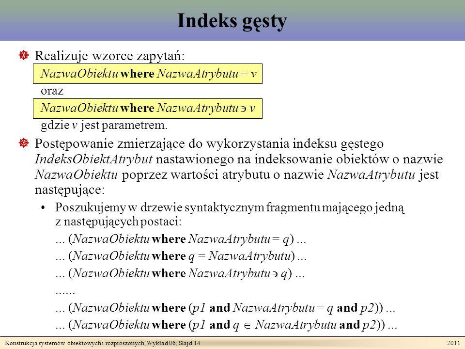 Konstrukcja systemów obiektowych i rozproszonych, Wykład 06, Slajd 14 2011 Indeks gęsty Realizuje wzorce zapytań: NazwaObiektu where NazwaAtrybutu = v oraz NazwaObiektu where NazwaAtrybutu v gdzie v jest parametrem.