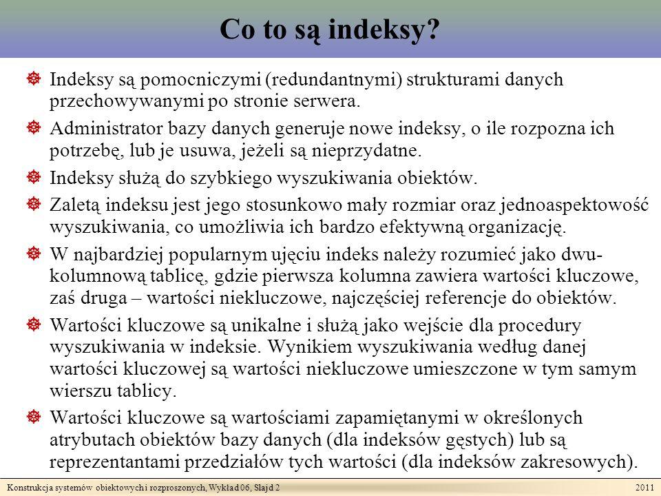 Konstrukcja systemów obiektowych i rozproszonych, Wykład 06, Slajd 2 2011 Co to są indeksy.