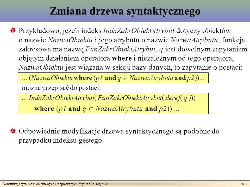 Konstrukcja systemów obiektowych i rozproszonych, Wykład 06, Slajd 20 2011 Zmiana drzewa syntaktycznego Przykładowo, jeżeli indeks IndxZakrObiektAtrybut dotyczy obiektów o nazwie NazwaObiektu i jego atrybutu o nazwie NazwaAtrybutu, funkcja zakresowa ma nazwę FunZakrObiektAtrybut, q jest dowolnym zapytaniem objętym działaniem operatora where i niezależnym od tego operatora, NazwaObiektu jest wiązana w sekcji bazy danych, to zapytanie o postaci:...
