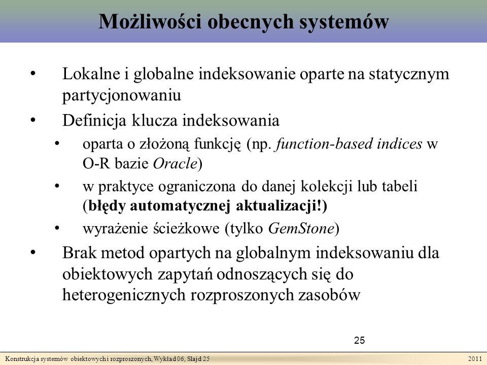 Konstrukcja systemów obiektowych i rozproszonych, Wykład 06, Slajd 25 2011 Możliwości obecnych systemów 25 Lokalne i globalne indeksowanie oparte na statycznym partycjonowaniu Definicja klucza indeksowania oparta o złożoną funkcję (np.
