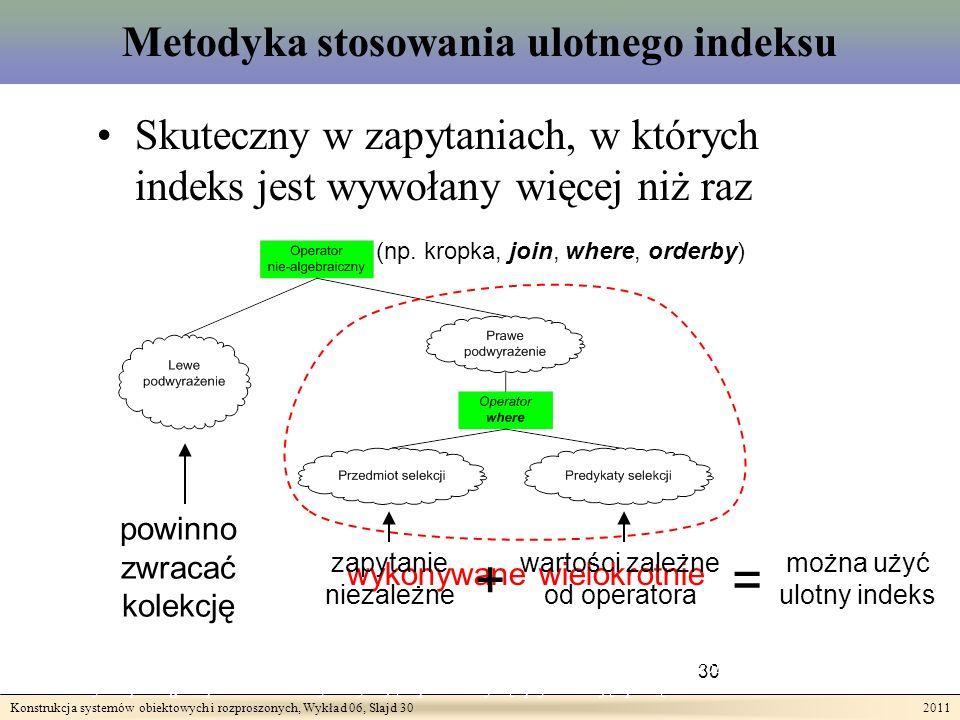 Konstrukcja systemów obiektowych i rozproszonych, Wykład 06, Slajd 30 2011 Metodyka stosowania ulotnego indeksu 30 Teza II: Wykonywanie złożonych zapytań odnoszących się do rozproszonych heterogenicznych zasobów może być wspomagane przez techniki wykorzystujące przezroczystą optymalizację opartą o indeksowanie.