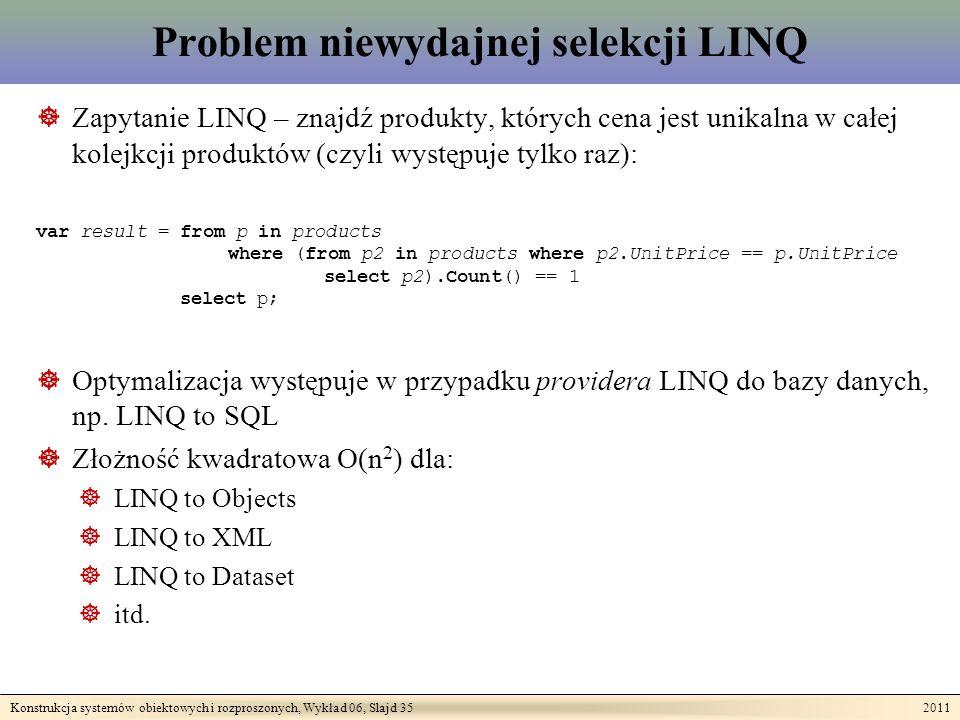 Konstrukcja systemów obiektowych i rozproszonych, Wykład 06, Slajd 35 2011 Problem niewydajnej selekcji LINQ Zapytanie LINQ – znajdź produkty, których cena jest unikalna w całej kolejkcji produktów (czyli występuje tylko raz): var result = from p in products where (from p2 in products where p2.UnitPrice == p.UnitPrice select p2).Count() == 1 select p; Optymalizacja występuje w przypadku providera LINQ do bazy danych, np.