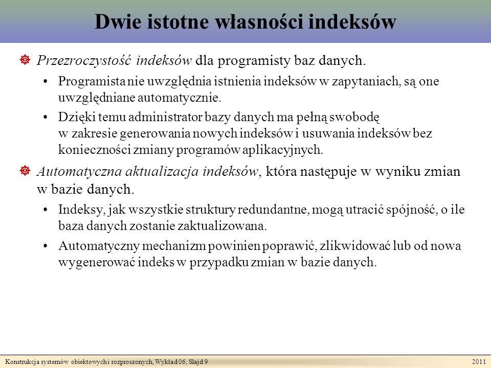 Konstrukcja systemów obiektowych i rozproszonych, Wykład 06, Slajd 9 2011 Dwie istotne własności indeksów Przezroczystość indeksów dla programisty baz danych.