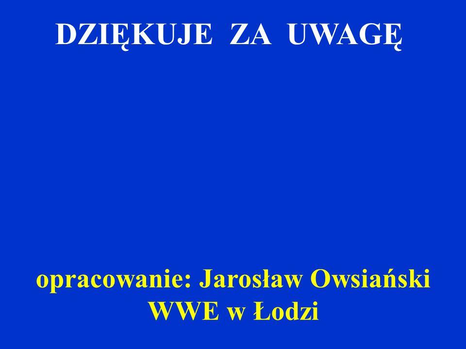 DZIĘKUJE ZA UWAGĘ opracowanie: Jarosław Owsiański WWE w Łodzi