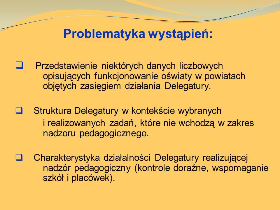 Problematyka wystąpień: Przedstawienie niektórych danych liczbowych opisujących funkcjonowanie oświaty w powiatach objętych zasięgiem działania Delega