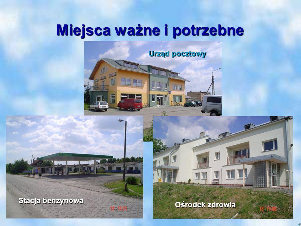 Miejsca ważne i potrzebne Stacja benzynowa Ośrodek zdrowia Urząd pocztowy