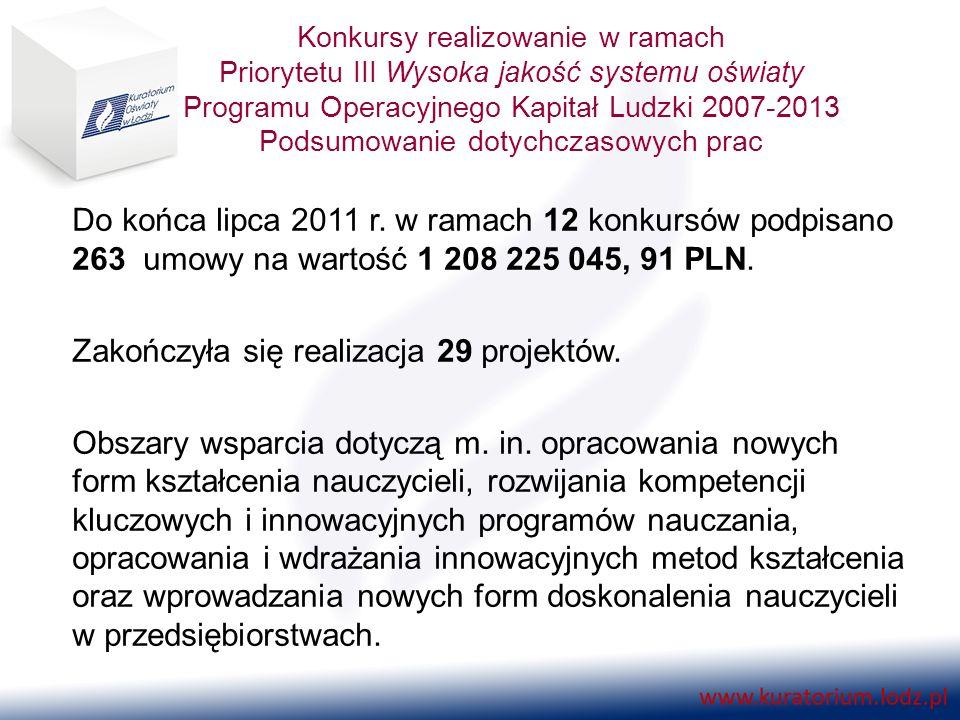 Konkursy realizowanie w ramach Priorytetu III Wysoka jakość systemu oświaty Programu Operacyjnego Kapitał Ludzki 2007-2013 Podsumowanie dotychczasowych prac Do końca lipca 2011 r.