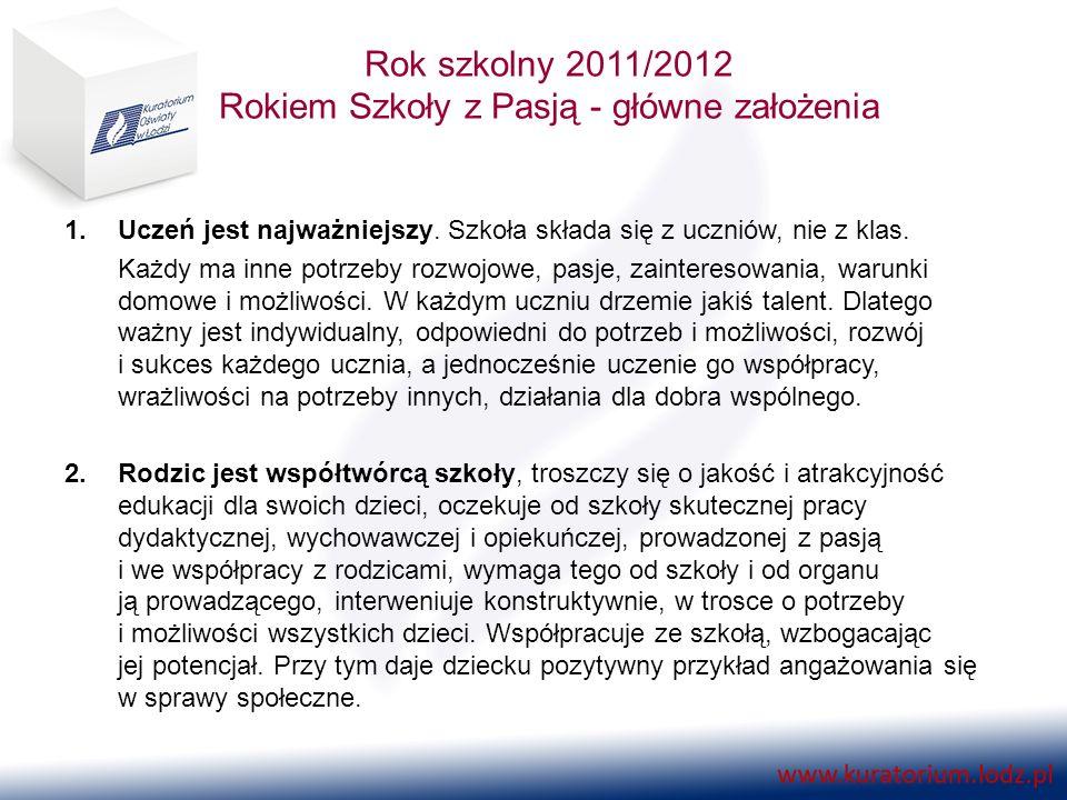 Rok szkolny 2011/2012 Rokiem Szkoły z Pasją - główne założenia 3.Nauczyciel rozbudza pasje uczniów, motywuje do nauki, odkrywa i rozwija ich talenty.