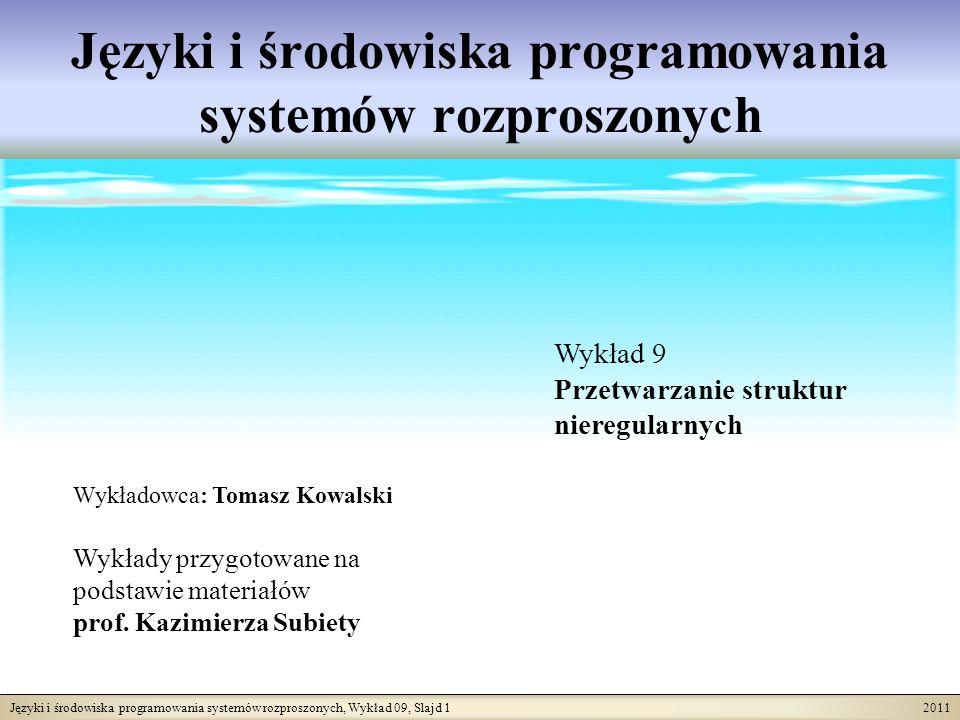 Języki i środowiska programowania systemów rozproszonych, Wykład 09, Slajd 1 2011 Języki i środowiska programowania systemów rozproszonych Wykładowca: