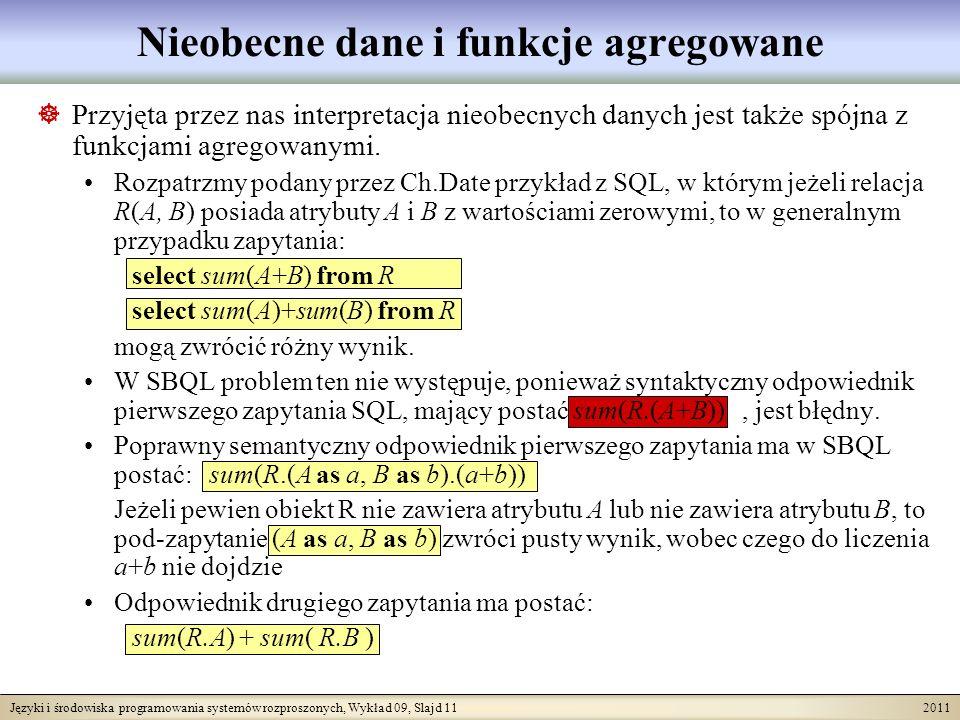 Języki i środowiska programowania systemów rozproszonych, Wykład 09, Slajd 11 2011 Nieobecne dane i funkcje agregowane Przyjęta przez nas interpretacj