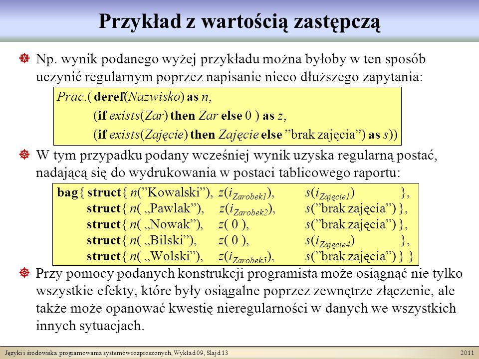 Języki i środowiska programowania systemów rozproszonych, Wykład 09, Slajd 13 2011 Przykład z wartością zastępczą Np. wynik podanego wyżej przykładu m