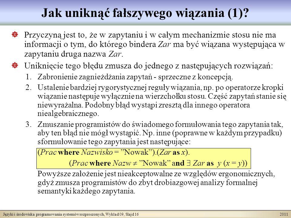 Języki i środowiska programowania systemów rozproszonych, Wykład 09, Slajd 16 2011 Jak uniknąć fałszywego wiązania (1)? Przyczyną jest to, że w zapyta