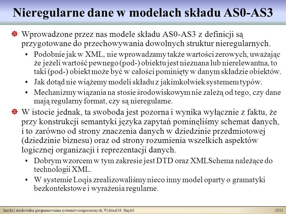 Języki i środowiska programowania systemów rozproszonych, Wykład 09, Slajd 6 2011 Nieregularne dane w modelach składu AS0-AS3 Wprowadzone przez nas modele składu AS0-AS3 z definicji są przygotowane do przechowywania dowolnych struktur nieregularnych.