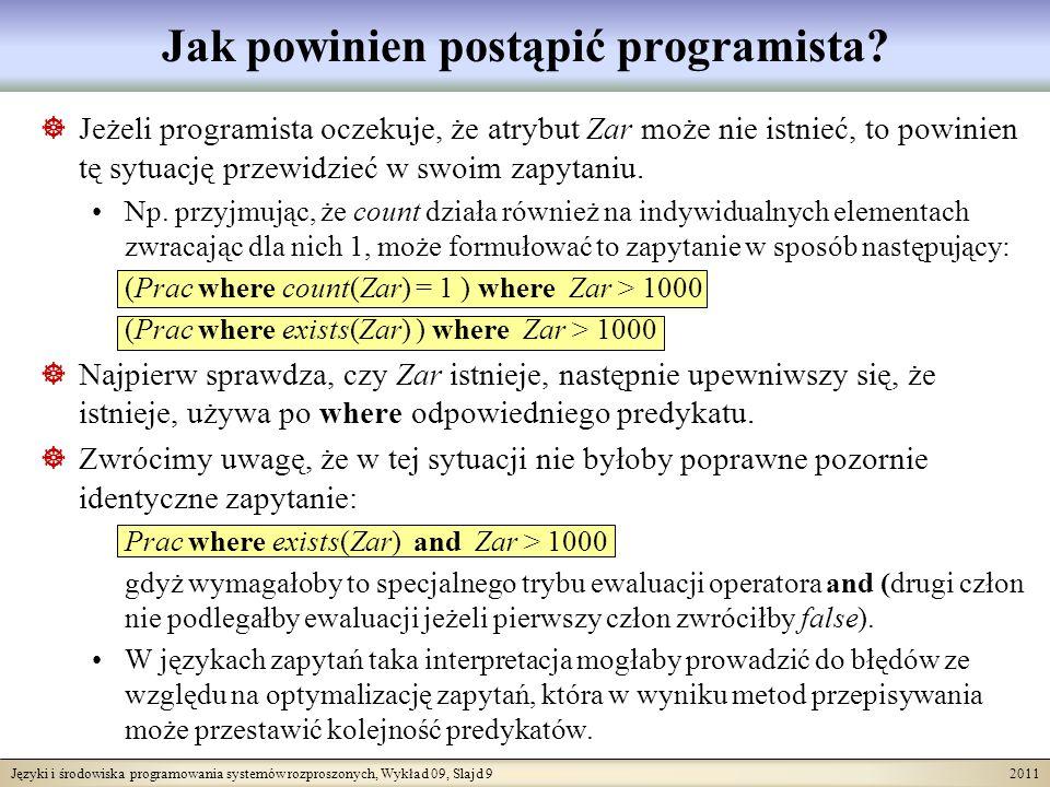 Języki i środowiska programowania systemów rozproszonych, Wykład 09, Slajd 9 2011 Jak powinien postąpić programista? Jeżeli programista oczekuje, że a