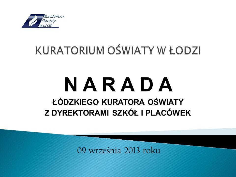 N A R A D A ŁÓDZKIEGO KURATORA OŚWIATY Z DYREKTORAMI SZKÓŁ I PLACÓWEK 09 wrze ś nia 2013 roku