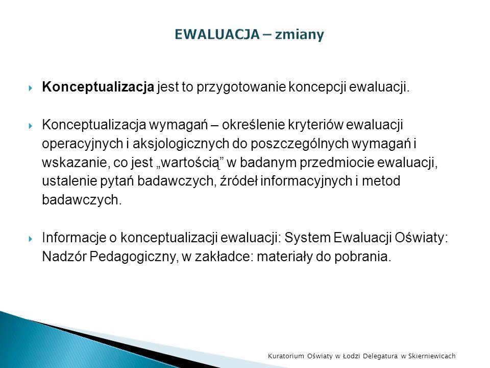 Konceptualizacja jest to przygotowanie koncepcji ewaluacji. Konceptualizacja wymagań – określenie kryteriów ewaluacji operacyjnych i aksjologicznych d