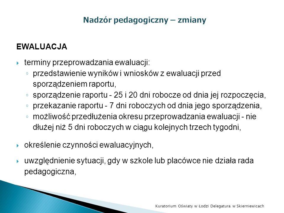 EWALUACJA terminy przeprowadzania ewaluacji: przedstawienie wyników i wniosków z ewaluacji przed sporządzeniem raportu, sporządzenie raportu - 25 i 20