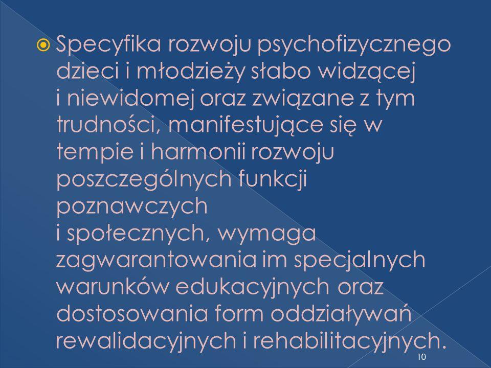 Specyfika rozwoju psychofizycznego dzieci i młodzieży słabo widzącej i niewidomej oraz związane z tym trudności, manifestujące się w tempie i harmonii