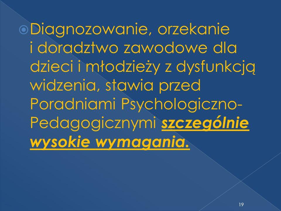 Diagnozowanie, orzekanie i doradztwo zawodowe dla dzieci i młodzieży z dysfunkcją widzenia, stawia przed Poradniami Psychologiczno- Pedagogicznymi szc