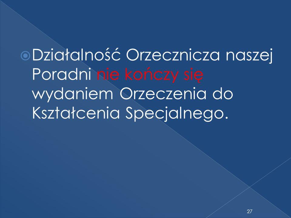 Działalność Orzecznicza naszej Poradni nie kończy się wydaniem Orzeczenia do Kształcenia Specjalnego. 27