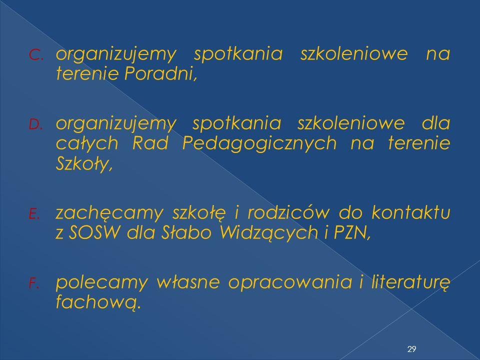 C. organizujemy spotkania szkoleniowe na terenie Poradni, D. organizujemy spotkania szkoleniowe dla całych Rad Pedagogicznych na terenie Szkoły, E. za