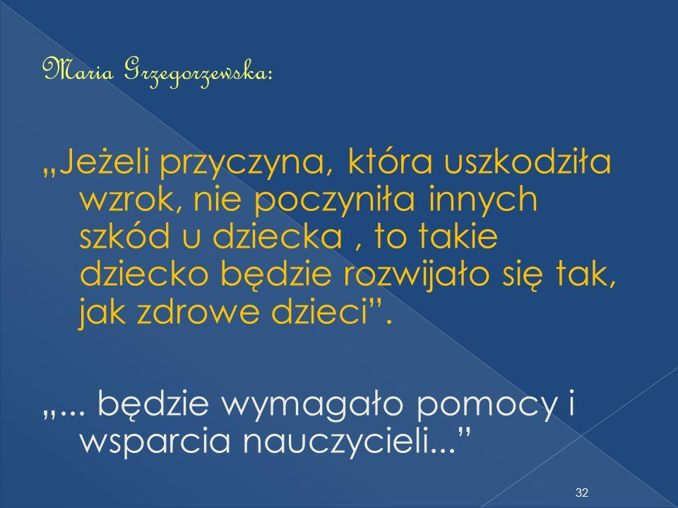 Maria Grzegorzewska: Jeżeli przyczyna, która uszkodziła wzrok, nie poczyniła innych szkód u dziecka, to takie dziecko będzie rozwijało się tak, jak zd