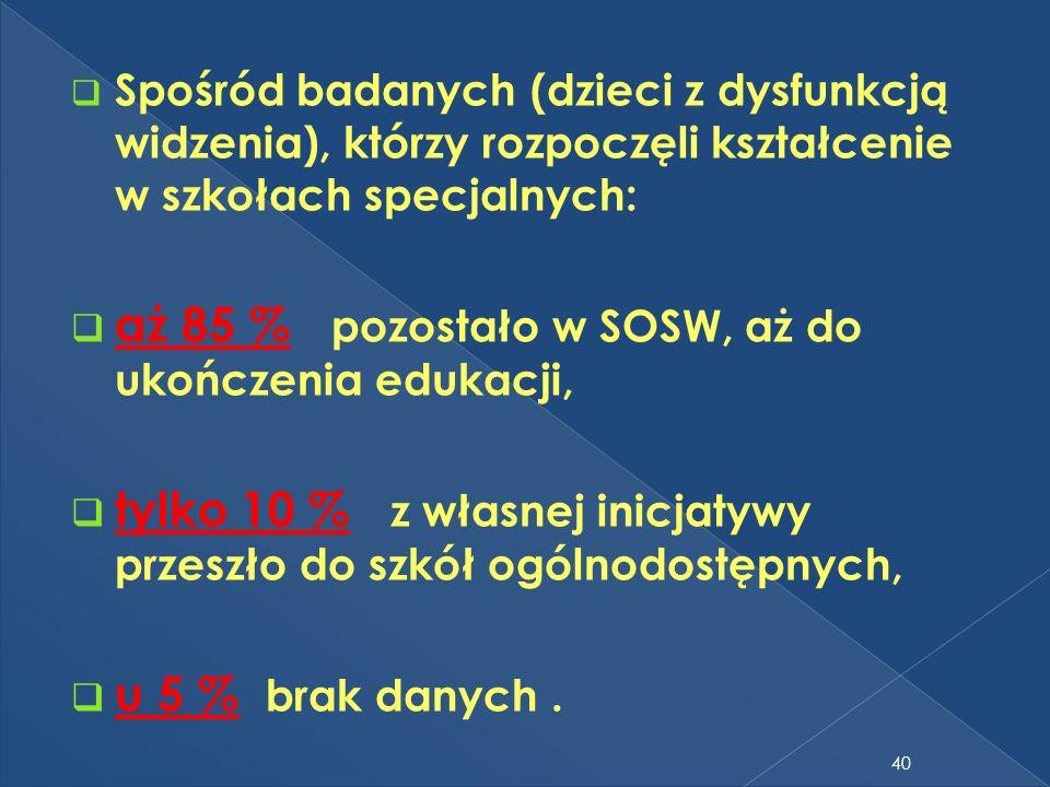 Spośród badanych (dzieci z dysfunkcją widzenia), którzy rozpoczęli kształcenie w szkołach specjalnych: aż 85 % pozostało w SOSW, aż do ukończenia eduk