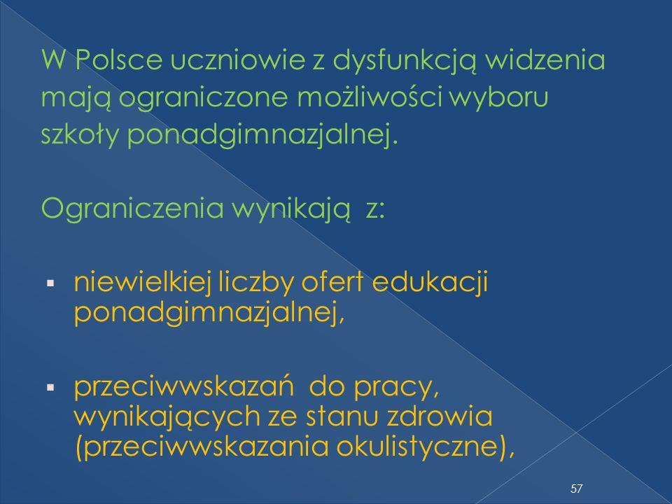 W Polsce uczniowie z dysfunkcją widzenia mają ograniczone możliwości wyboru szkoły ponadgimnazjalnej. Ograniczenia wynikają z: niewielkiej liczby ofer