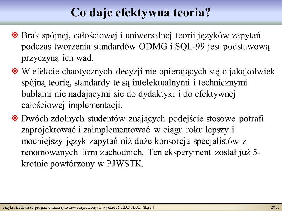 Języki i środowiska programowania systemów rozproszonych, Wykład 01 SBA&SBQL, Slajd 4 2011 Co daje efektywna teoria.