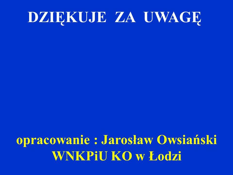 DZIĘKUJE ZA UWAGĘ opracowanie : Jarosław Owsiański WNKPiU KO w Łodzi