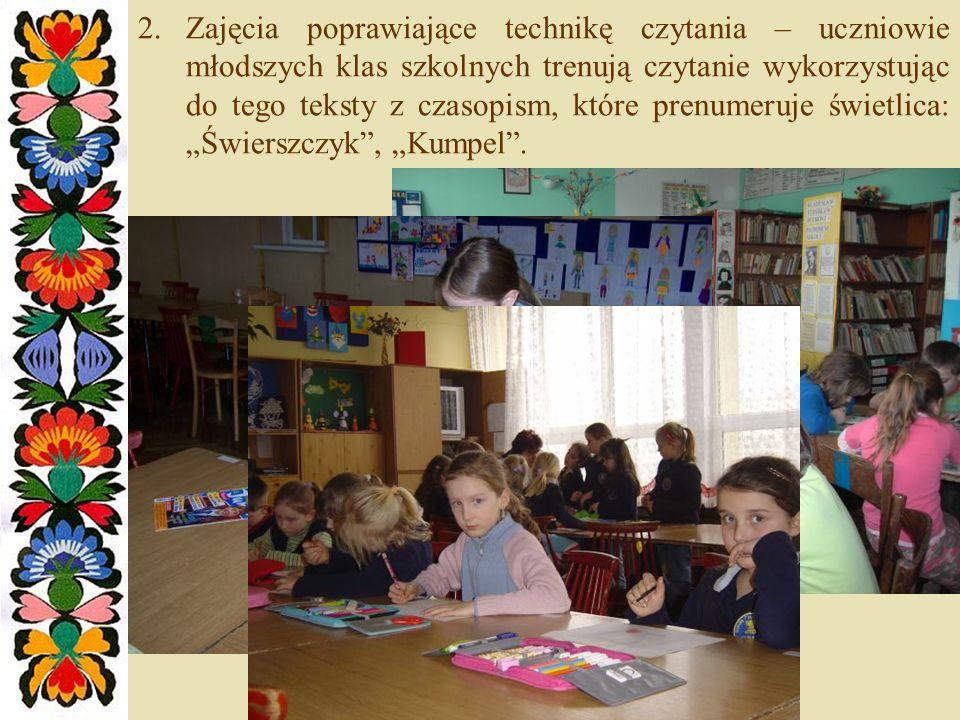 2.Zajęcia poprawiające technikę czytania – uczniowie młodszych klas szkolnych trenują czytanie wykorzystując do tego teksty z czasopism, które prenumeruje świetlica: Świerszczyk, Kumpel.