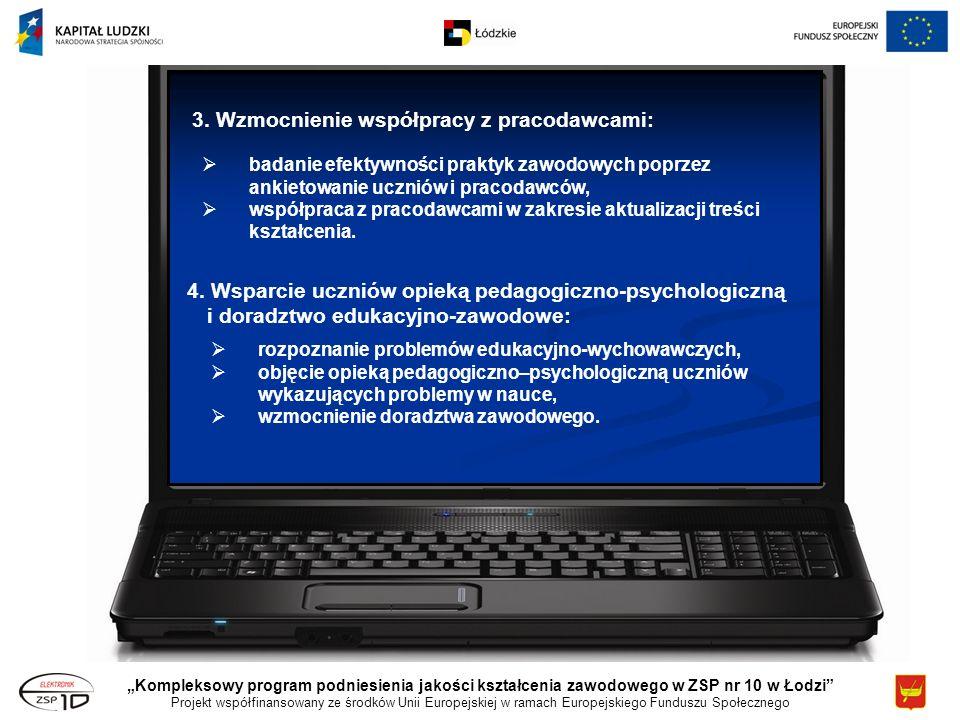 Kompleksowy program podniesienia jakości kształcenia zawodowego w ZSP nr 10 w Łodzi Projekt współfinansowany ze środków Unii Europejskiej w ramach Europejskiego Funduszu Społecznego 3.
