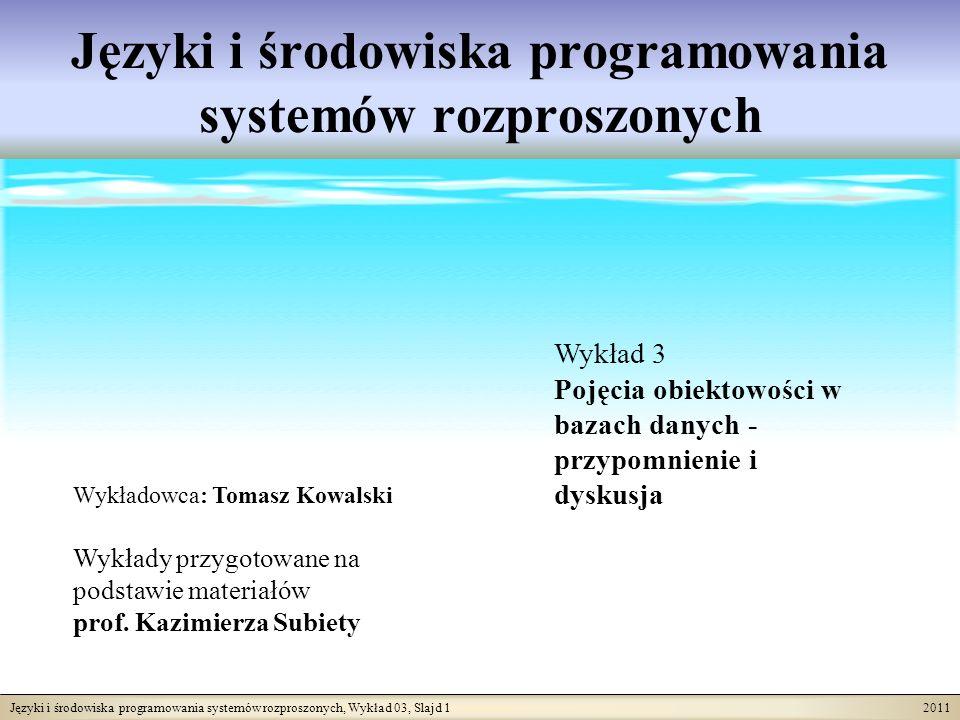 Języki i środowiska programowania systemów rozproszonych, Wykład 03, Slajd 1 2011 Języki i środowiska programowania systemów rozproszonych Wykładowca: