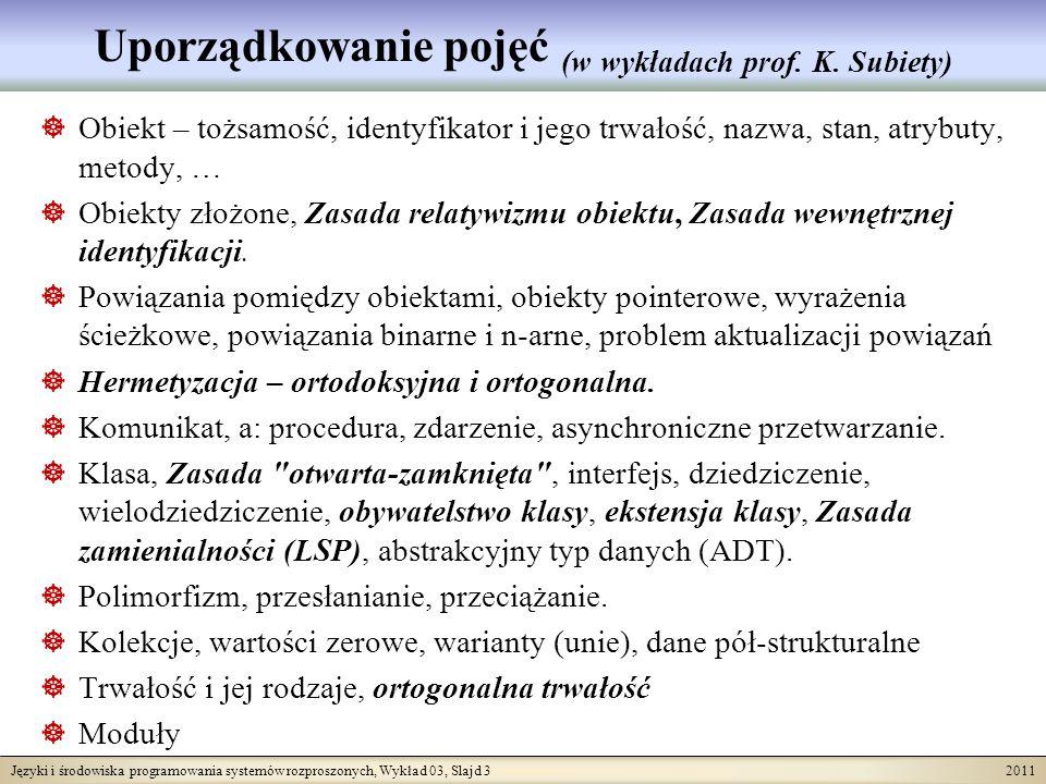 Języki i środowiska programowania systemów rozproszonych, Wykład 03, Slajd 3 2011 Uporządkowanie pojęć (w wykładach prof. K. Subiety) Obiekt – tożsamo