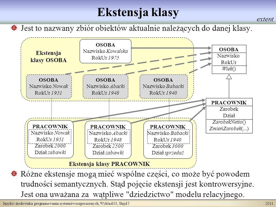 Języki i środowiska programowania systemów rozproszonych, Wykład 03, Slajd 6 2011 Kolekcje Kolekcje są zestawami danych o podobnej strukturze.