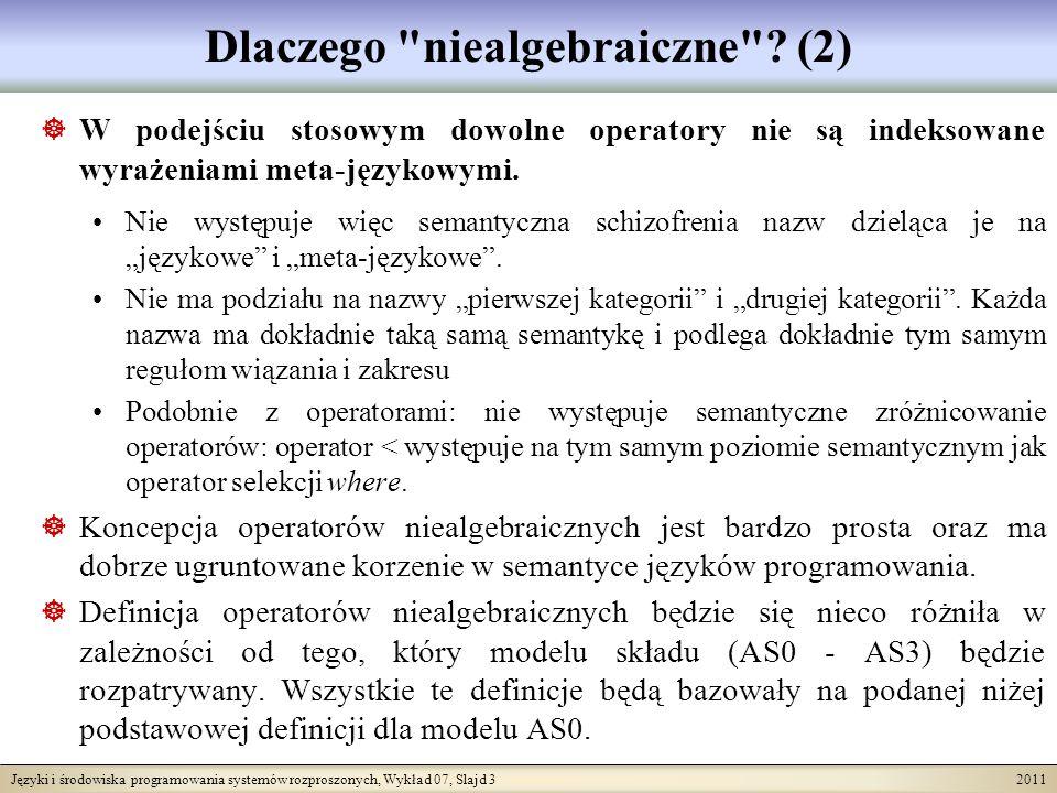 Języki i środowiska programowania systemów rozproszonych, Wykład 07, Slajd 3 2011 Dlaczego niealgebraiczne .