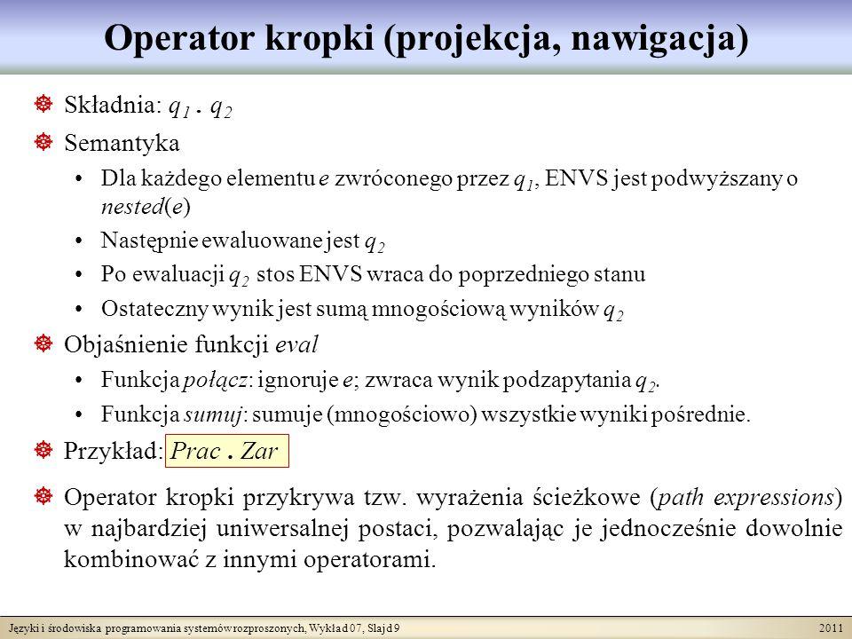 Języki i środowiska programowania systemów rozproszonych, Wykład 07, Slajd 9 2011 Operator kropki (projekcja, nawigacja) Składnia: q 1.